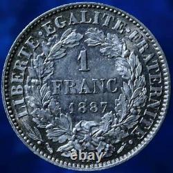 1 FRANC 1887 PARIS CÉRÈS 1F MONNAIE FRANCE ARGENT q. FDC UNC MINT COIN MONEY