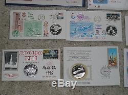 (12) SILVER FDC, Space! Apollo, Shuttle, Skylab, ASTP, First day medal covers