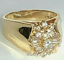 14K Yellow Gold Baguette & Round Diamond Wide Band Vintage Ring Size 7.5 Signed
