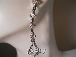 14k White Gold Diamond Chandelier Art Deco Starburst Cluster Earrings 41.5mm