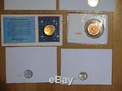 (15) FDC, Space! Apollo, Shuttle, Sputnik, Eclipse, First day medal covers