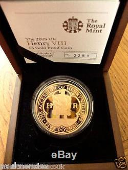 1509 2009 500th ANNIVERSARY ACCESSION HENRY VIII 5 FIVE POUND GOLD PROOF FDC