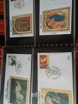 18 Albums Benham Silk Fdc Collection Luxury Binders & In Excellent Condition