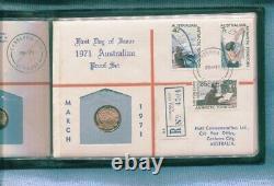 1971 Australia PROOF Hutt PNC FDC stamp coin 1c 2c 5c 10c 20c 50c L-915