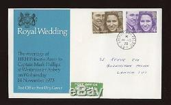1973 Royal Wedding ROYAL COURT Post Office BUCKINGHAM PALACE CDS FDC addressed