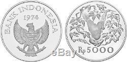 1974 Indonesia 5000 Rupiah Orangutan. 925 Silver Coin KM# 40a 17k Minted FDC
