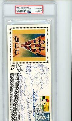 1989 Gateway Stamps 500 Home Run Club FDC Signed Mantle Williams HOF PSA Auto