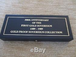 1989 RM Gold Proof 500th Anniversary (4) COIN Sovereign set cased with COA FDC