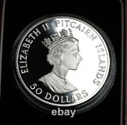 1990 Pitcairn Islands 50 Dollars $50 5oz Silver Proof Coin FDC KM# 8