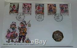 1993 ISLE OF MAN 50p Pence Christmas Nativity Scene First Day Coin Cover Card