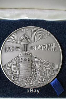 1998 Royal Mint 5 oz SILVER CENTENARY Medal THE EDDYSTONE LIGHTHOUSE Cased FDC