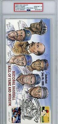 1999 HOF Induction First Day Cover Cachet signed Ryan Brett Yount Cepeda PSA 10