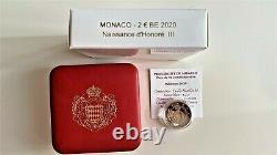 2 Euro Commemorativo Monaco 2020 Honoré III Montecarlo FDC BE Principato