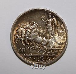 2 Lire 1917 Quadriga Briosa Regno d'Italia non comune FDC eccezionale