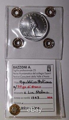 2 Lire 1947 Spiga Repubblica Italiana rarissimo periziato FDC (Bazzoni)