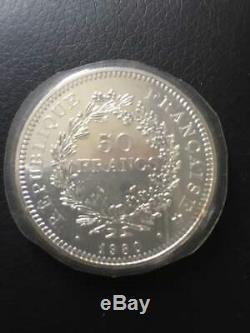 2 X 50 Francs Argent Hercule 1980 Piéfort FDC BU, NGC PF66 CAMEO 2500 EX