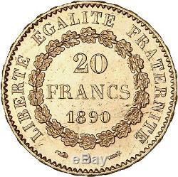 20 Francs or Génie 1890 Paris magnifique exemplaire FDC