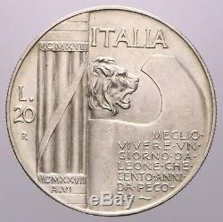 20 Lire 1928 Elmetto Spl-fdc Nc Vittorio Emanuele III Perizia Nip Grimoldi
