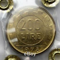 200 lire 1978 variante mezzaluna sotto il collo FDC Periziata CAVALIERE