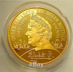 2000 Qe2 The Queen Mother Centenary Year Proof Gold Five Pound Crown Fdc