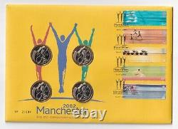 2002 MANCHESTER COMMONWEALTH GAMES 4 x £2 COIN COVER SET TWO POUND PNC FDC