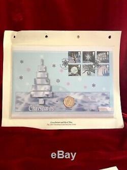 2003 IOM Christmas Snowman & James 50p Coin FDC. BUNC