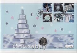 2003 Snowman and James Isle of Man Christmas 50p Coin First Day cover