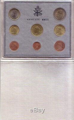 2003 Vaticano Serie Divisionale In Folder Euro 8 Valori Fdc