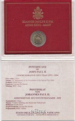 2004 Vaticano 2 Euro Commemorativo 75 Istituzione Stato Giovanni Paolo II FDC