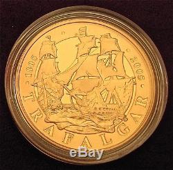 2005 Qe2 Battle Of Trafalgar Proof Gold Five Pound Crown Fdc