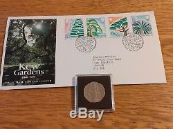 2009 KEW GARDENS GENUINE 50p COIN With Kew Gardens 1990 First Day Cover Stamps