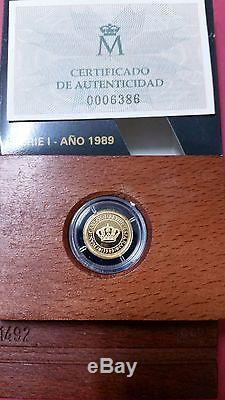 5.000 Pesetas Oro. FDC. V Centenario año 1989. Peso 1,68 gr. Ley de 999/1000