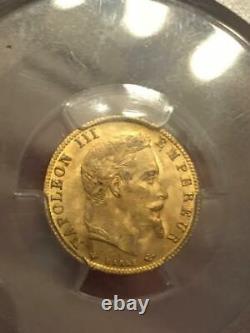 5 FRANCS OR 1866 A PARIS GOLD Napoléon III PCGS MS64 RR FDC COLLECTION IDEALE