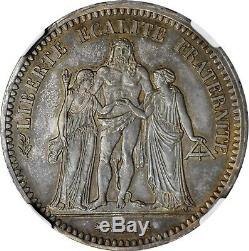 5 Francs Hercule 1849 Paris PROOF Flan Bruni FDC NGC PF64 Rarissime