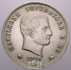 5 Lire 1813 Milano Spl-fdc/qfdc Napoleone I Perizia Nip Grimoldi