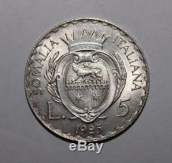 5 Lire 1925 Somalia Italiana Re Vittorio Emanuele III raro FDC