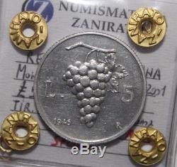 5 Lire 1946 Uva Repubblica Italiana molto raro SPL / FDC
