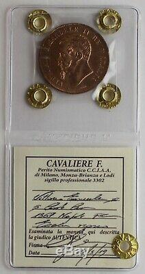 5 centesimi 1867 Napoli -FDC Eccezionale rosso- Perizia F. Cavaliere