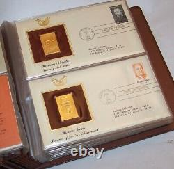 9 Vintage Golden Replicas of US Stamps Binders 328 First Day Covers in 22K Gold