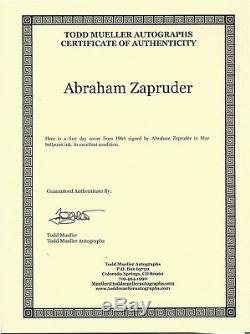 Abraham Zapruder Autograph signed COA Kennedy Assassination witness Film JFK