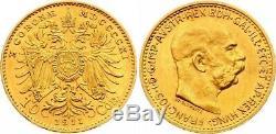 Austria Autriche 10 Couronne Or Gold 1911 Mint Luster Unc Fdc