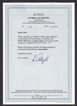Berlin Währungsgeschädigte 1949 Block adressierter FDC Attest (S13104)