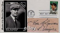 Bill McGowan, HOF Umpire, Cut Large Cut Signature on First Day Cover, SGC Auth