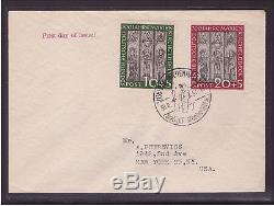 Bund FDC 139-140 Ersttagsbrief Kirchenfenster Lübeck Brief 1951 USA (21684)