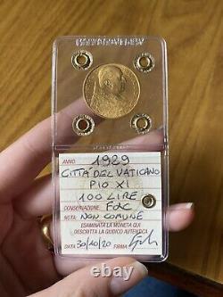 CITTA' DEL VATICANO PIO XI 100 LIRE 1929 ORO NC sigillata FDC SUBALPINA