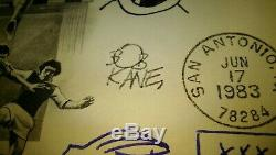 Charles Schulz Signed First Day Cover & Dr. Seuss, Bob Kane Etc, Sketches! SALE