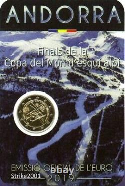 Coin Card 2 EURO COMM ANDORRA 2019 Fdc Coppa del Mondo di Sci Alpino