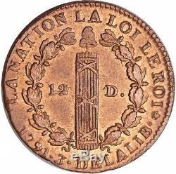 Constitution 12 Deniers type francois 1791 Paris PCGS MS 64 RB Plus Haut grade