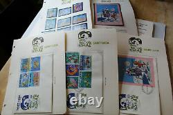 DISNEY STAMP COLLECTION EARLY 1980'S TOTAL 38 SETS OF STAMPS / FDC'S With SS