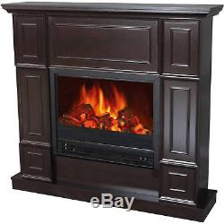 Electric Fireplace with 44 Mantle 3750 BTUs 1250 W Heater Realistic Flame Black